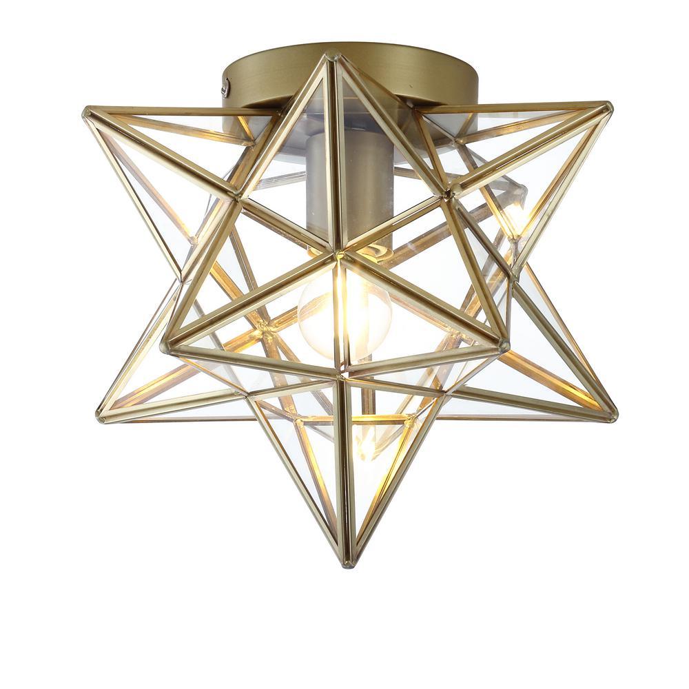 Stella 9.75 in. 1-Light Gold Moravian Star Metal/Glass LED Pendant