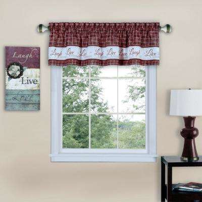 Live, Love, Laugh 14 in. L Polyester Valance in Burgundy