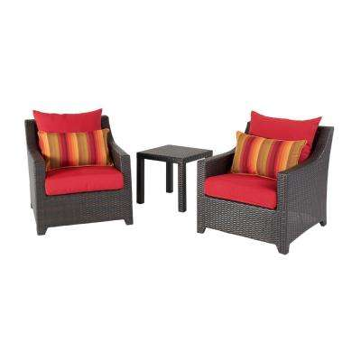Deco 3-Piece All-Weather Wicker Patio Club Chairs and Side Table Seating Set with Sunset Red Cushions