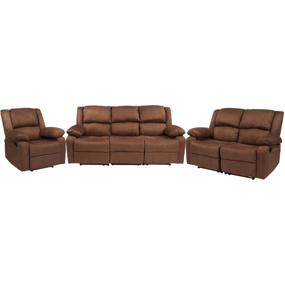 Chocolate Brown Microfiber Living Room Sets