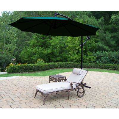 3-Piece Aluminum Outdoor Chaise Lounge Set with Tan Cushions and Green Umbrella