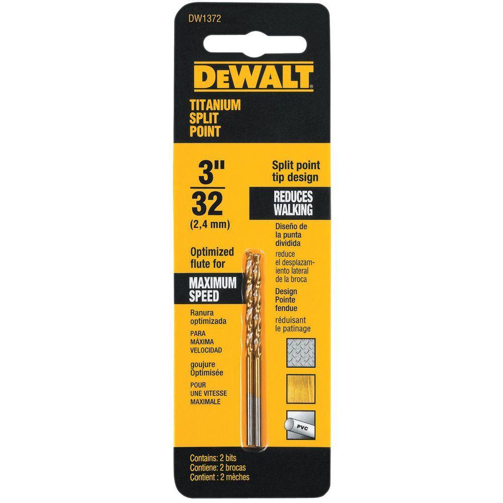 Click here to buy Dewalt 3/32 inch Titanium Split Point Drill Bit (2-Pack) by DEWALT.