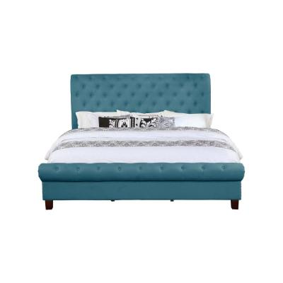 Blue Queen Size Upholstered Rounded Panel Bed