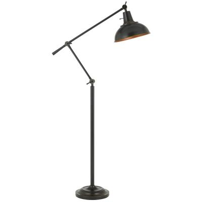 63 in. Chrome Metal Floor Lamp with Faux Wood Accent