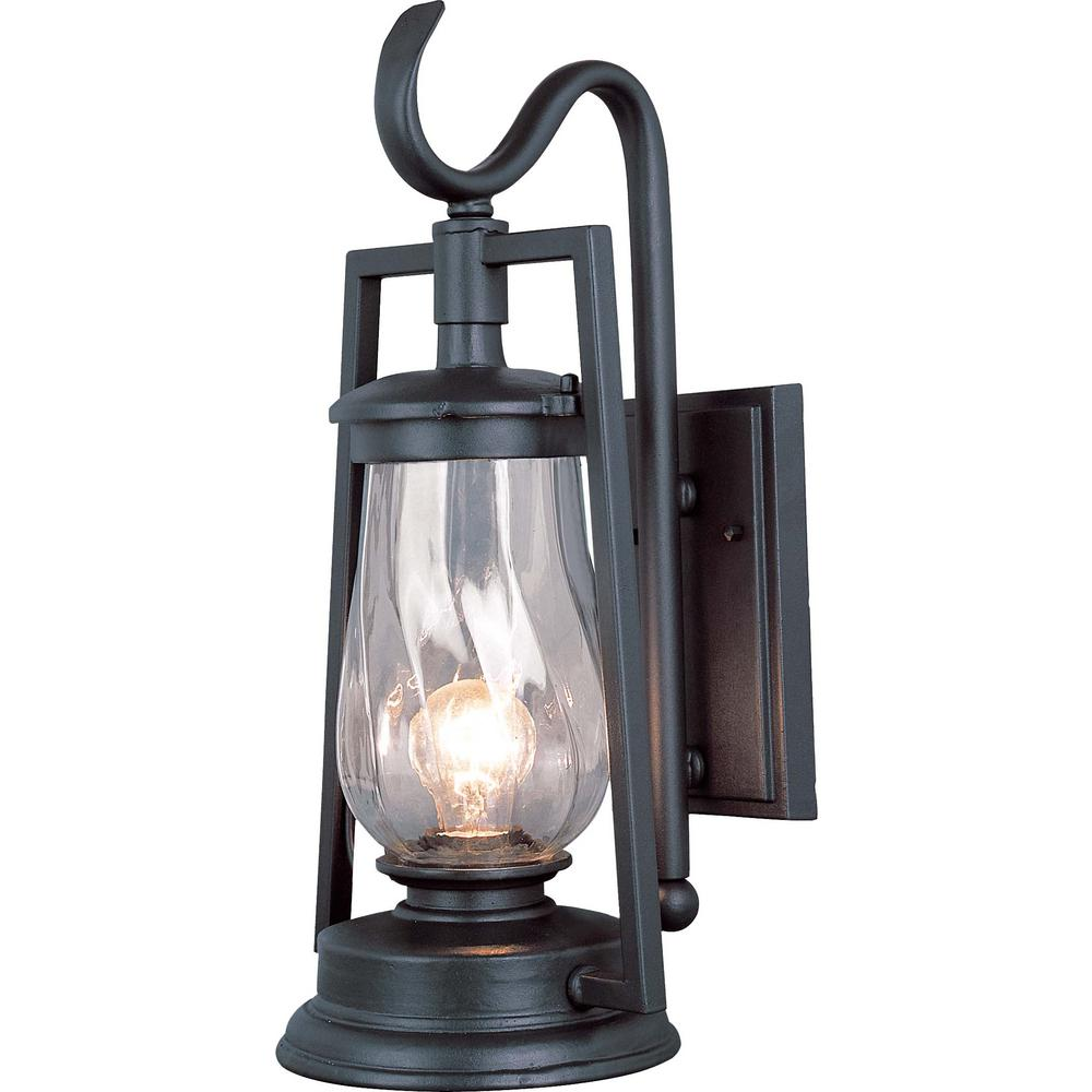 Volume Lighting 1 Light Indoor Or Outdoor Antique Bronze Aluminum Wall Lantern Sconce With Twisted Clear Gl