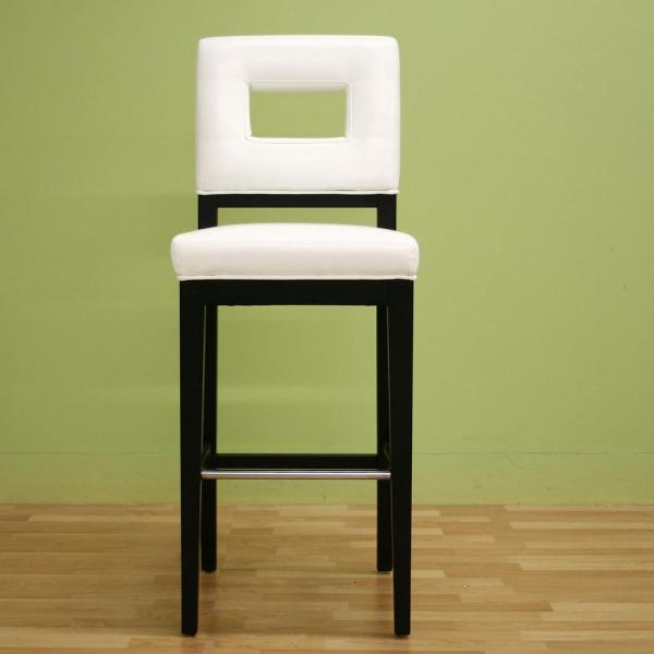 Baxton Studio Faustino White Faux Leather Upholstered Bar Stool 28862-3317-HD