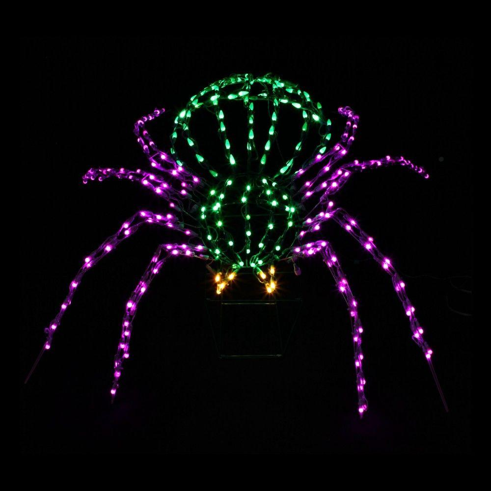 null 280-Light LED Green, Yellow and Purple Twinkling Spider Sculpture