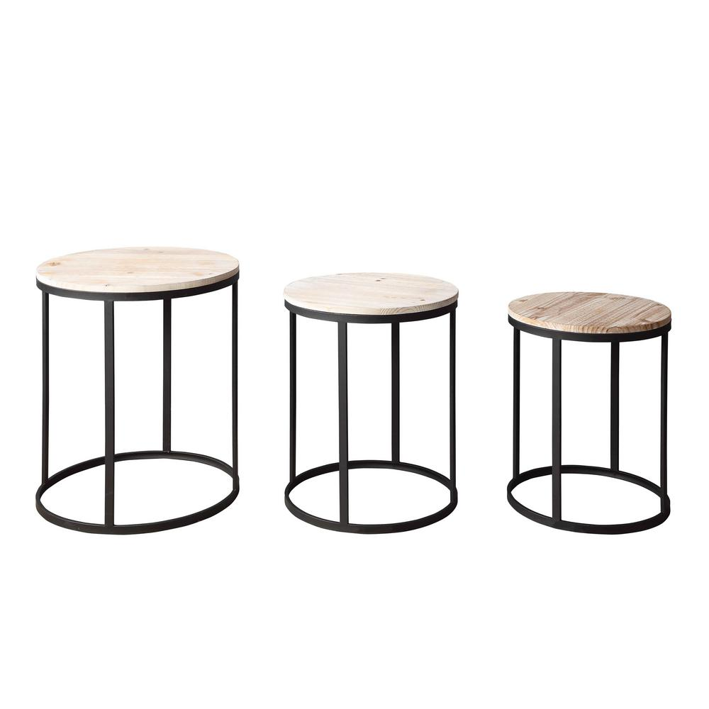 Layton Distressed Black and Brown Nesting Tables