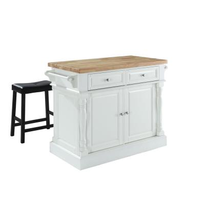 Oxford White Kitchen Island with Saddle Stools