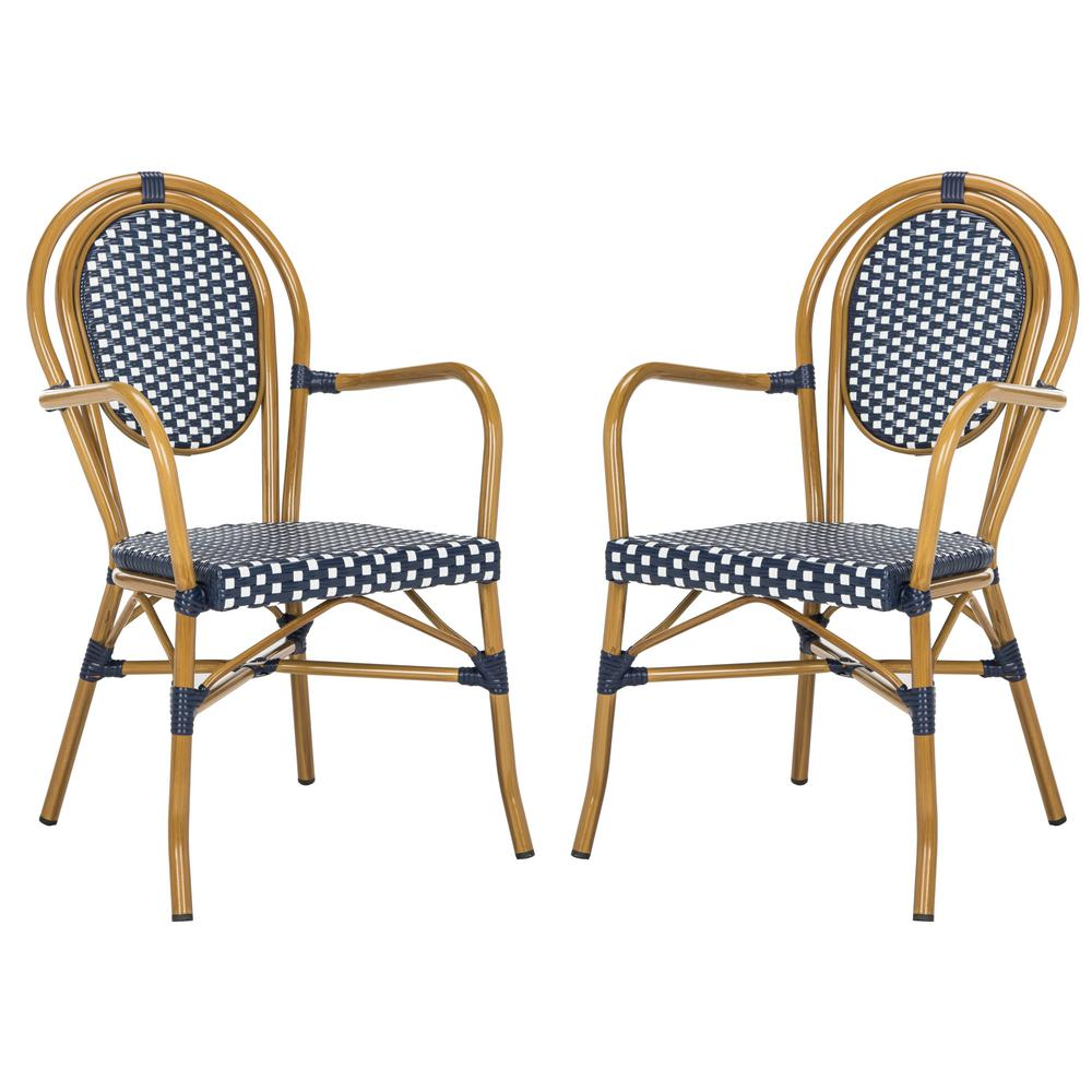 Wondrous Safavieh Rosen Stacking Aluminum Outdoor Dining Chair In Navy And White Set Of 2 Beutiful Home Inspiration Aditmahrainfo