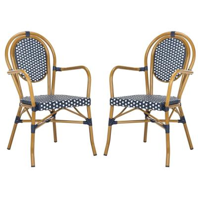 Rosen Navy/White Stackable Aluminum/Wicker Outdoor Dining Chair (2-Pack)