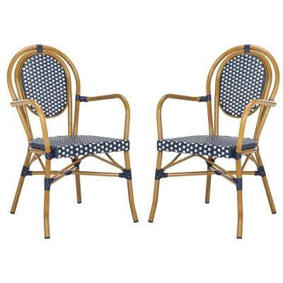 Rosen Stacking Aluminum Outdoor Dining Chair in Navy and White (Set of 2)