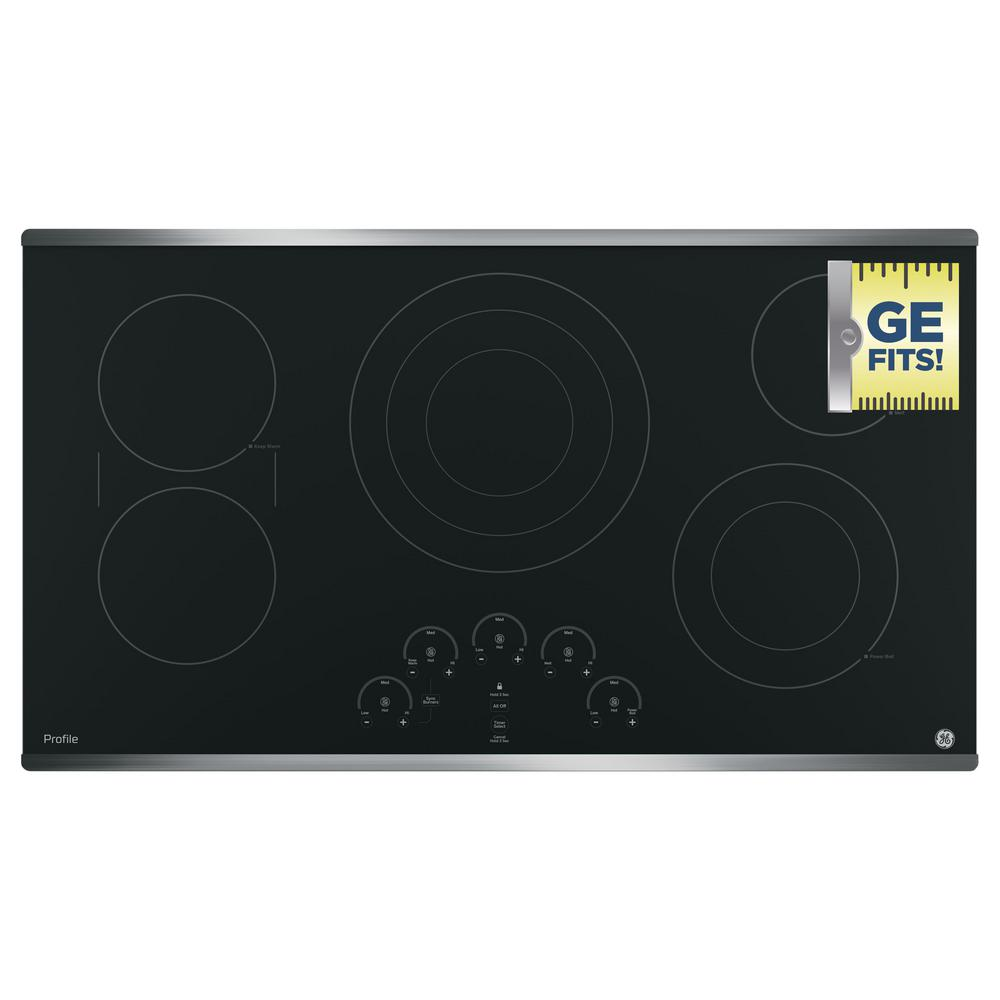 Ge profile 36 in radiant electric cooktop in stainless for Stainless steel elements