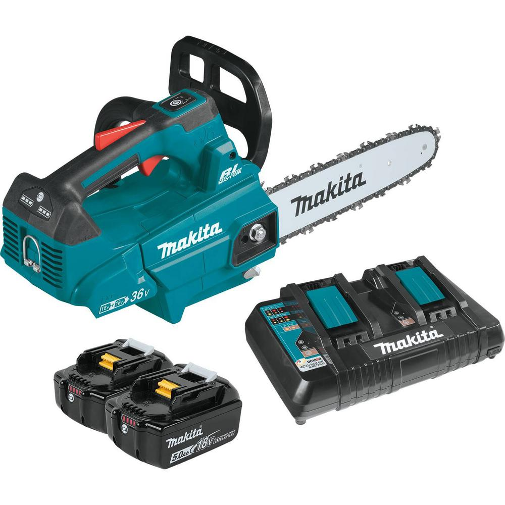 Makita 14 in. 18-Volt X2 (36-Volt) LXT Lithium-Ion Brushless Cordless Top Handle Chain Saw Kit (5.0Ah)