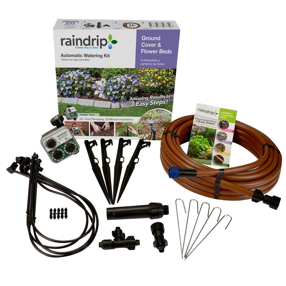 Raindrip ground cover and flower bed drip watering kit for 50ft garden design