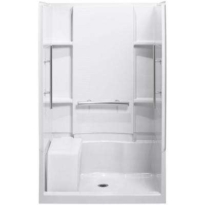 Accord 36 in. x 48 in. x 74.75 in. Shower Kit in Biscuit with Grab Bars