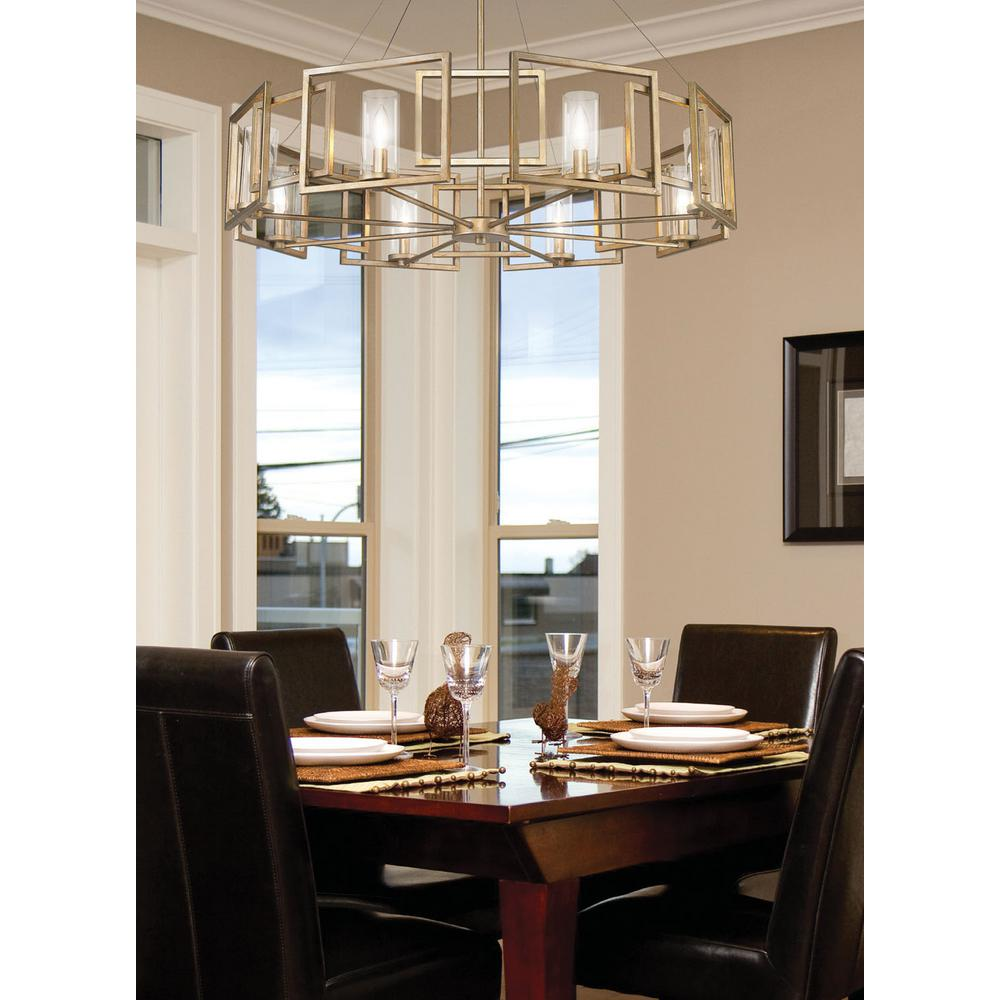 Golden Lighting Marco 8 Light White Gold Chandelier With Clear Gl Shade