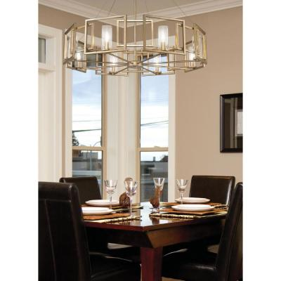 Marco 8-Light White Gold Chandelier with Clear Glass Shade