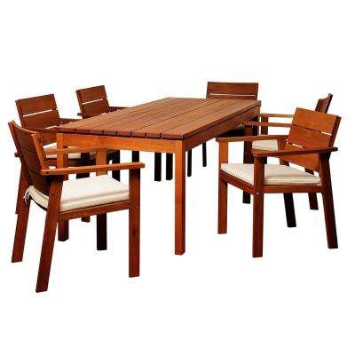 Gerald 7-Piece Wood Outdoor Dining Set with Beige Cushions