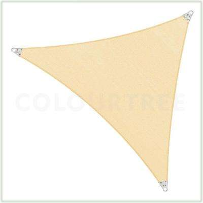 16 ft. x 16 ft. 260 GSM Reinforced (Super Ring) Beige Triangle Sun Shade Sail