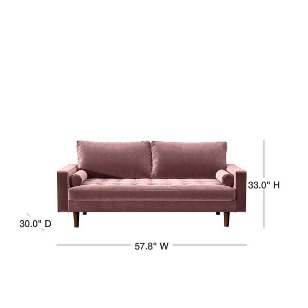 Us Pride Furniture Civa 57 8 In Tea Rose Velvet 2 Seater Loveseat With Removable Cushions S5481 L The Home Depot