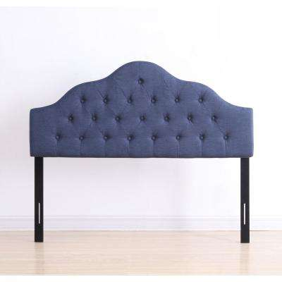 Blue Full Fabric Upholstered Tufted Rounded Headboard