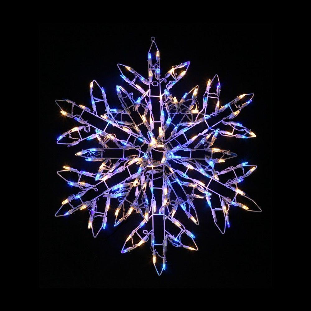null 2.9 ft. 180-Light LED Warm White and Blue Twinkling Snowflake Sculpture