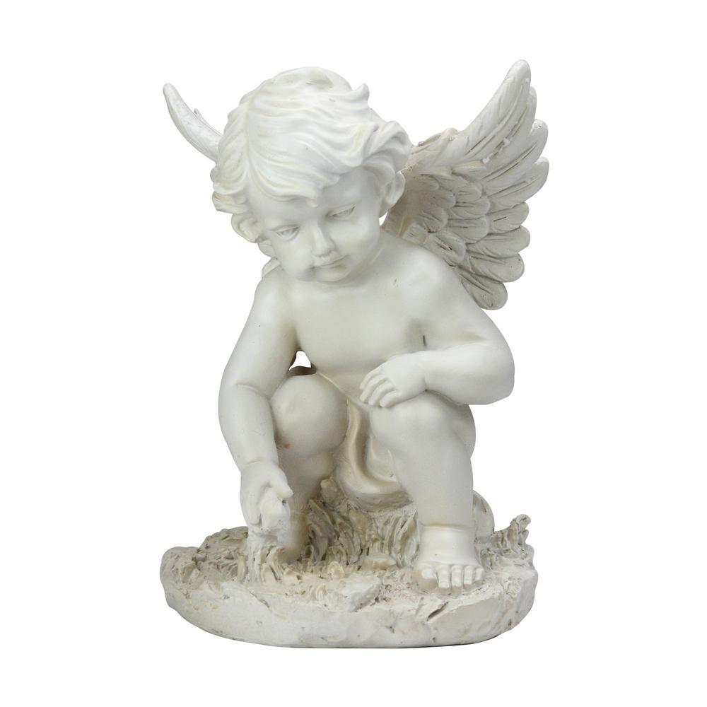 12 in. Heavenly Gardens Ivory Sitting Cherub Angel Outdoor Patio Garden Statue