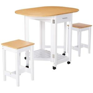Basicwise 3-Piece White Kitchen Island Breakfast Bar Set ...