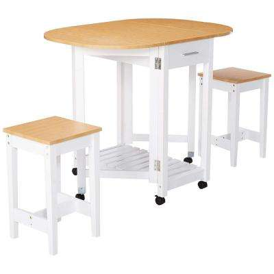 3-Piece White Kitchen Island Breakfast Bar Set with Casters and Drop Down Island Table with 2-Stools