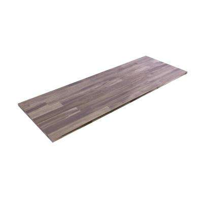 6 ft. L x 2 ft. 1.5 in. W x 1.5 in. T Butcher Block Countertop in Oiled Acacia with Dusk Grey Wood Oil Finish