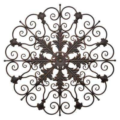 31.25 in. Metal Wall Decoration in Brown