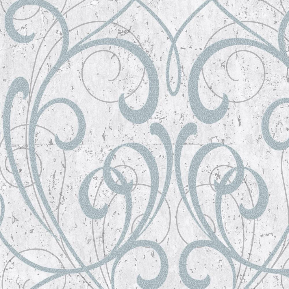 Relatively Graham & Brown Kyoto Cork Damask Pale Blue / Silver Wallpaper  UG67