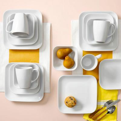 Square Dance 16-Piece White Dinnerware Set