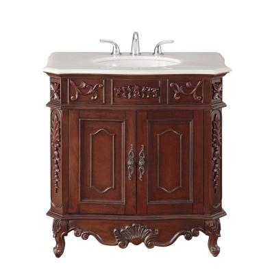 Winslow 33 in. W x 22 in. D Bath Vanity in Antique Cherry with Vanity Top in White Marble with White Basin