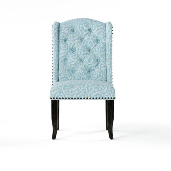 Furniture of America Edwards Blue Upholstered Patterned Accent Chair (Set of