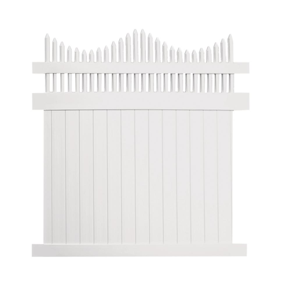 Louisville 7 ft. H x 6 ft. W White Vinyl Privacy