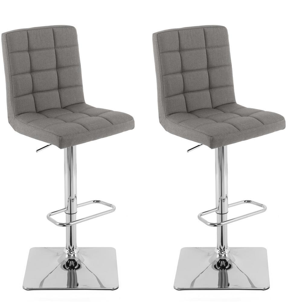 Astonishing Corliving Adjustable Height Medium Grey Square Tufted Fabric Creativecarmelina Interior Chair Design Creativecarmelinacom