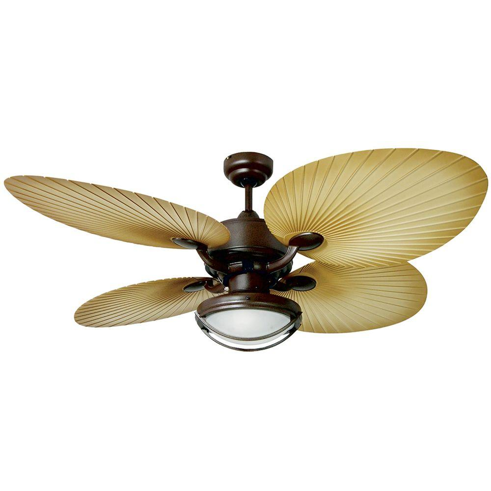 Yosemite Home Decor California Breeze 52 in. Indoor/Outdoor Oil Rubbed Bronze Ceiling Fan with Palm-Type Blades-DISCONTINUED
