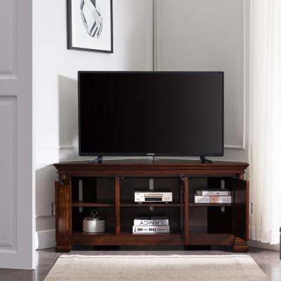 """Riley Holliday 18.75 in. Cherry Corvino Corner TV Console Stand with 3 Glass Center Door Bookcases Fits 52"""" in. TV"""