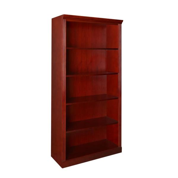 42 in. Mahogany Wood 5-shelf Accent Bookcase with Adjustable Shelves