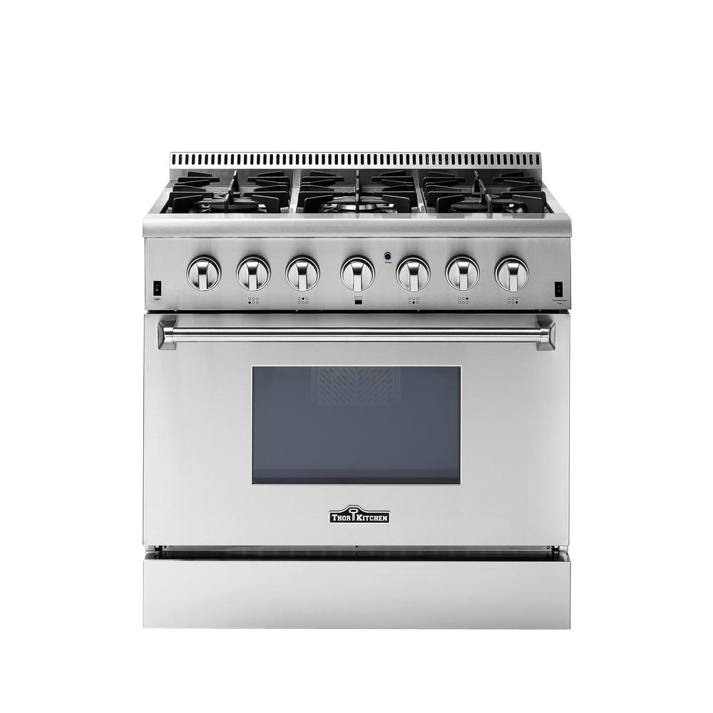 Thor Kitchen 36 In 5 2 Cu Ft Oven Dual Fuel Range In