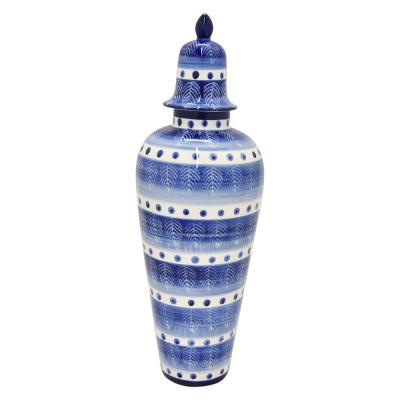 20 in. Porcelain Jar - Blue and White
