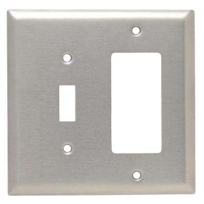 302 Series 2-Gang Jumbo Decorator/Toggle Combination Wall Plate, Stainless Steel