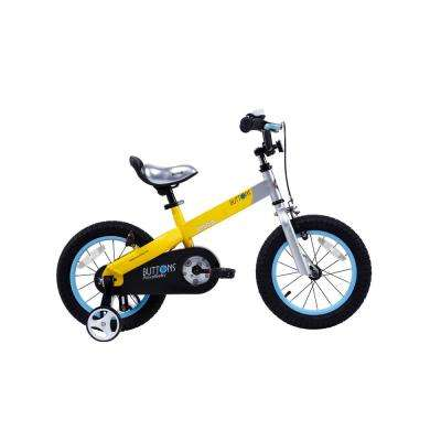 Matte Buttons Kid's Bike, Boy's Bikes and Girl's Bikes with Training Wheels, 12 in. Wheels in Matte Yellow