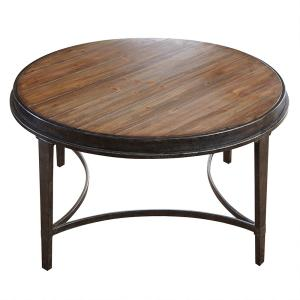 Gianna Antiqued Tobacco Round Cocktail Table by