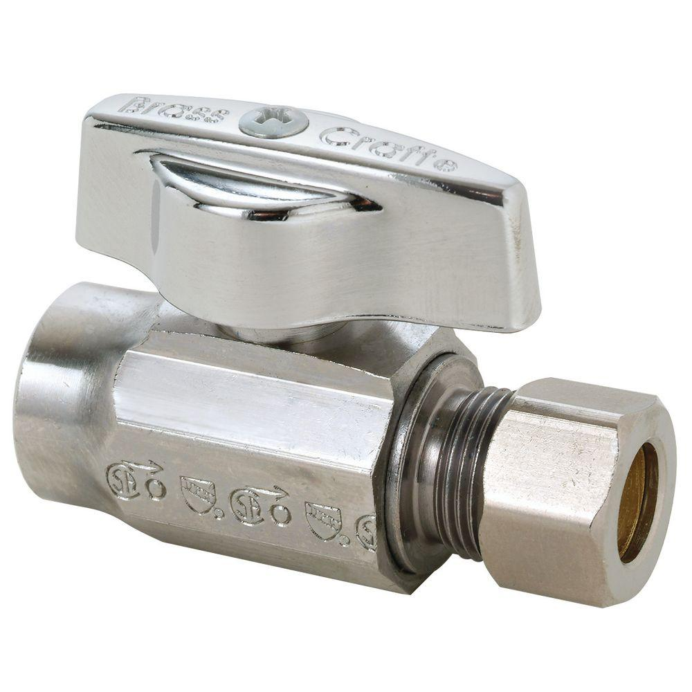 BrassCraft 1/2 in. Nominal Sweat Inlet x 3/8 in. O.D. Compression Outlet 1/4-Turn Straight Valve