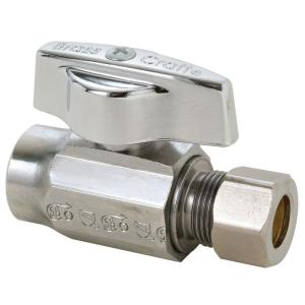 Brasscraft 1/2 inch Nominal Sweat Inlet x 3/8 inch O.D. Compression Outlet 1/4-Turn Straight Valve by BrassCraft