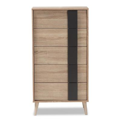 Lisen 5-Drawer Oak Brown and Dark Grey Chest