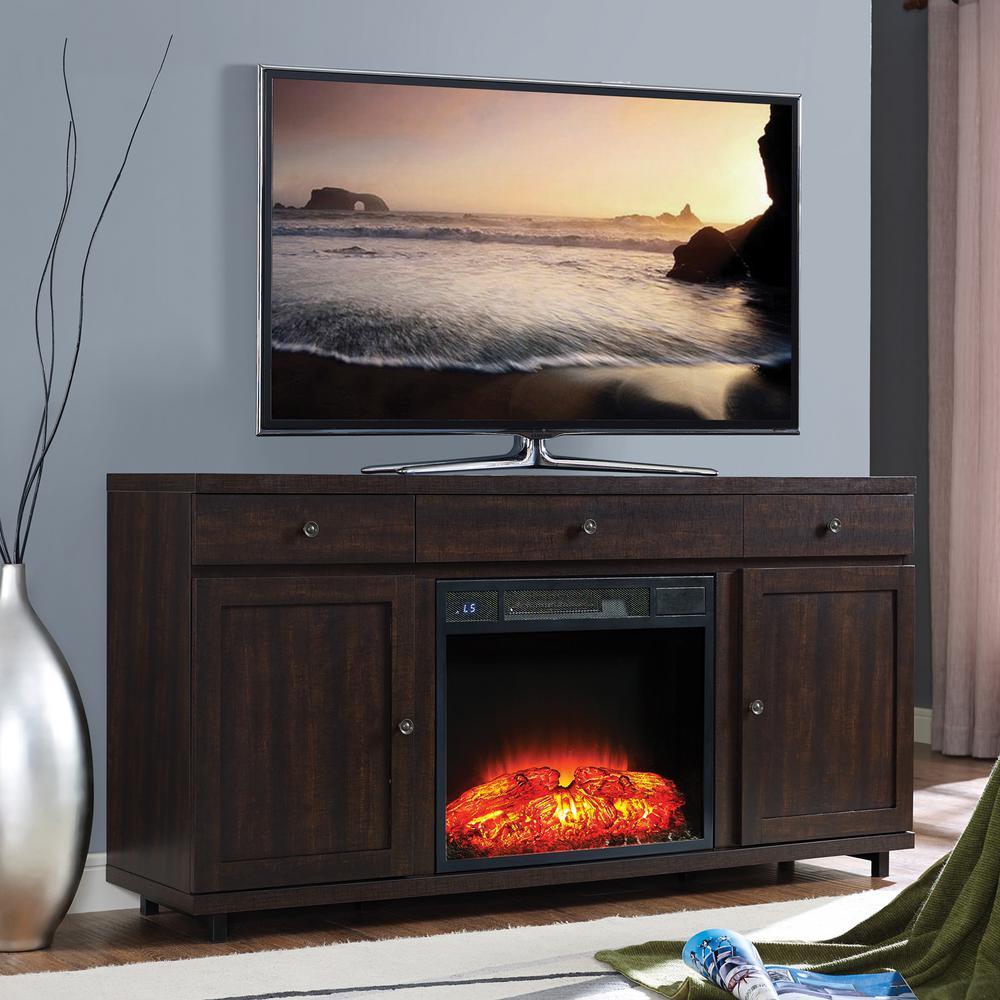 Home Source Leko Mahogany Electric Fireplace TV Stand